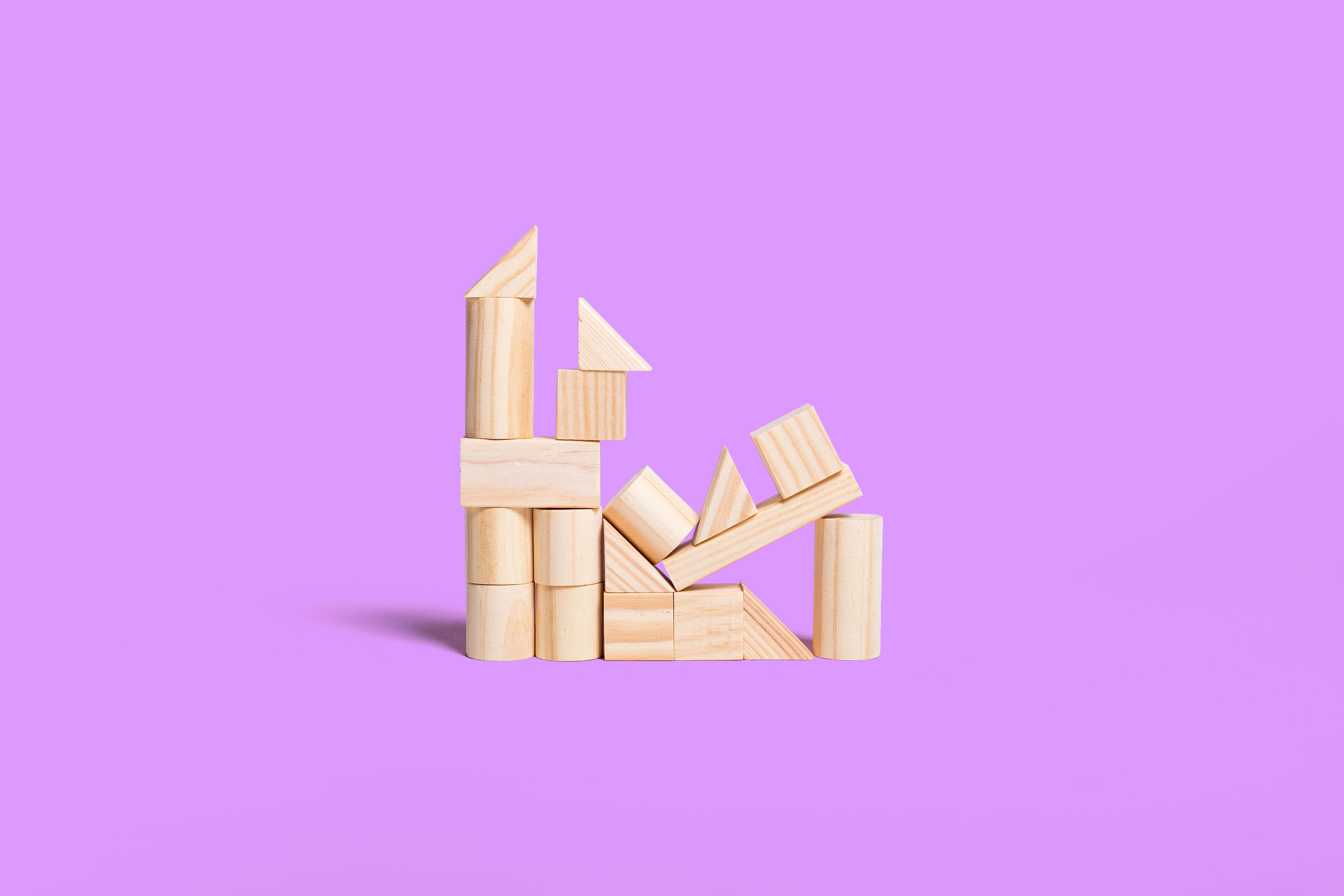 Stacked wooden blocks